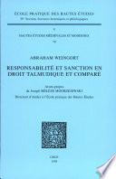 Responsabilit Et Sanction En Droit Talmudique Et Compar
