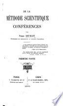 De la Méthode scientifique. Conférences. pt. 1