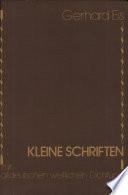 Kleine Schriften zur altdeutschen weltlichen Dichtung