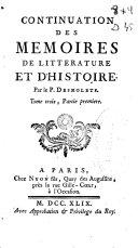 Memoires de litterature et d'histoire