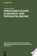 Sprachreflexion in Barock und Frühaufklärung