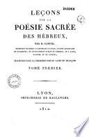 illustration Leçons sur la poésie sacrée des hébreux, traduites pour la première fois de latin en françois