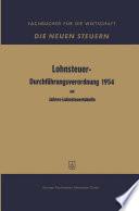 Lohnsteuer-Durchführungsverordnung 1954