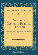 Catalog Of Copyright Entries Third Series Vol 9 book