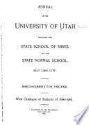 Catalogue of the University of Utah