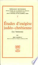 Études d'exégèse judéo-chrétienne