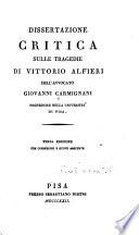 Dissertazione critica sulle tragedie di Vittorio Alfieri
