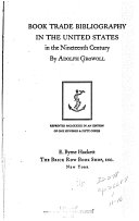 Book trade bibliography in the United States in the nineteenth century