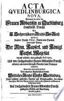 Acta Quedlinburgica nova