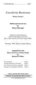 Mascagni s CAVALLERIA RUSTICANA  Rustic Chivalry  Opera Journeys Mini Guide