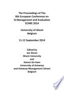 Proceedings of the 8th  European Conference on IS Management and Evaluation