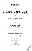 Handbuch der praktischen pädagogik höhere lerhanstalten