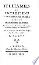 Telliamed, ou entretiens d'un philosophe indien avec un missionaire françois