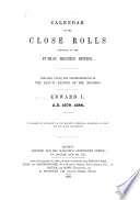 Calendar of the Close Rolls Preserved in the Public Record Office Book PDF
