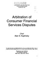 Arbitration Of Consumer Financial Services Disputes