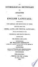 An Etymological Dictionary