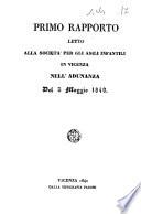 Primo rapporto letto alla Societ   per gli asili infantili in Vicenza nell adunanza del 3 maggio 1840  Menegotto Paolo