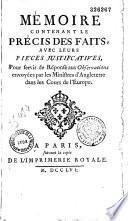 M  moire contenant le pr  cis des faits  le meurtre de Jumonville  avec leurs pi  ces justificatives     par Jacob Nicolas Moreau