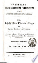 Epistolae obscurorum virorum aliaque aevi decimi sexti monimenta rarissima