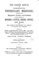The Pocket Manual of Homeopathic Veterinary Medicine...with the General Management of Animals in Health & Disease