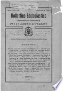 Bollettino Ecclesiastico per la Diocesi di Ferrara  BEDF  1929