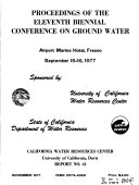 Proceedings of the Eleventh Biennial Conference on ground Water