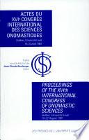 Actes du XVIe Congrès international des sciences onomastiques