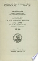 a glossary of the vespasian psalter and hymns