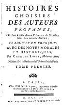 Histoires choisies des auteurs profanes, tome premier