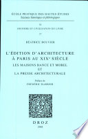 L   dition d architecture    Paris au XIXe si  cle