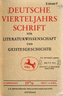 Deutsche Vierteljahrsschrift fur literaturwissenschaft und Geistesgeschichte