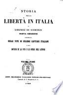Storia Della Libert In Italia Di Simondo De Sismondi