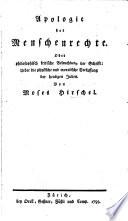 Apologie der Menschenrechte, oder philosophisch kritische Beleuchtung der Schrift: Ueber die physische und moralische Verfassung der heutigen Juden
