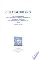 Chateaubriand. Actes du Congrès de Wisconsin pour le 200e anniversaire de la naissance de Chateaubriand, 1968