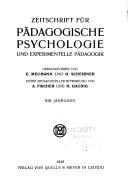 Zeitschrift f  r p  dagogische Psychologie und experimentelle P  dagogik
