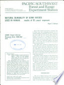 Natural durability of some woods used in Hawaii     results of 9 1 2 years  exposure