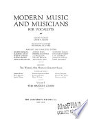 Modern Music and Musicians for Vocalists  The singer s guide