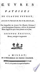 Œuvres Patoises De Claude Peyrot, Ancien Prieur De Pradinas, Dans lesquelles on trouve les Quatre Saisons; ou les Géorgiques Patoises; suivies de plusieurs Pièces fugitives qui n'ont jamais vu le jour