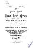 The National Register of French Draft Horses Together with Proceedings and Annual Reports