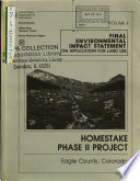White River National Forest (N.F.), Homestake Phase II Water Diversion
