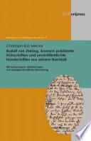 Rudolf Von Jhering. Anonym Publizierte Fruhschriften Und Unveroffentlichte Handschriften Aus Seinem Nachlass