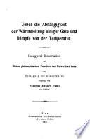 Ueber die Abh  ngigkeit der W  rmeleitung einiger Gase und D  mpfe von der Temperatur