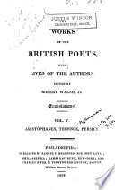 Works of the British Poets  The comedies of Aristophanes  Select comedies of Terence  tr  by George Coleman  The satires of Perseus  tr  into English verse by William Gifford Book PDF