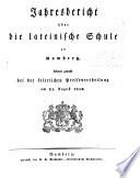 Jahresbericht über die Lateinische Schule zu Bamberg