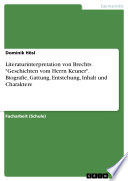 Literaturinterpretation von Brechts  Geschichten vom Herrn Keuner   Biografie  Gattung  Entstehung  Inhalt und Charaktere