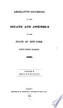 Legislative Documents of the Senate and Assembly of the State of New York