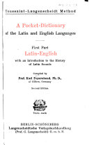 A Pocket dictionary of the Latin and English Languages