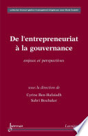 De l entrepreneuriat    la gouvernance     Enjeux et perspectives
