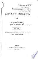Astronomische Mitteilungen der Eidgenössischen Sternwarte Zürich