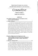 Hastings Communications and Entertainment Law Journal  Comm Ent